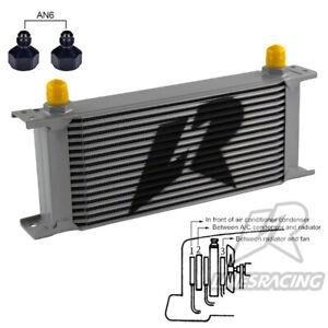 16Row AN8 Stacked Plate Oil Cooler 6AN Adapter Universal Aluminium Radiator SL