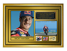 "Nicky Hayden A3 Gold Tribute 16.5 X 11.7""  Framed Canvas  Signed Limited Edition"