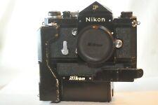 Nikon F Black 35mm FILM SLR camera eye level finder F36 Motor Drive Vietnam era