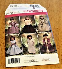 """Simplicity: Pattern #2758 Doll Clothing For 18"""" Dolls Partial Cut 6 designs"""