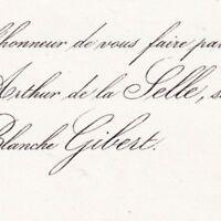 Arthur De La Selle La Ferté-Beauharnais Blanche Gibert 1853
