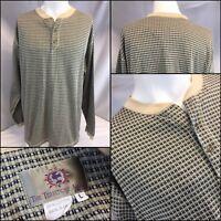 The Territory Ahead Henley Shirt L Tan Check Cotton USA Mint YGI K8-302