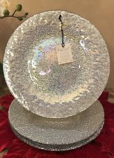 AKCAM Iridescent SILVER Glass DINNER Plates (SET OF 4)
