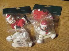 Christmas set of 2 Potpourri Designs Gift Tie-Ons Ornaments Santas & Snowmen