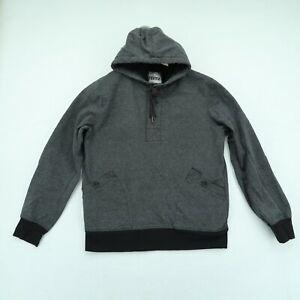 Ezekiel Hoodie Sweatshirt Mens Medium M Gray Black Pullover Henley Style