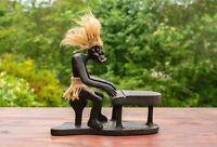 Wooden Handmade Primitive Tribal Statue Playing Piano Sculpture Tiki Figurine