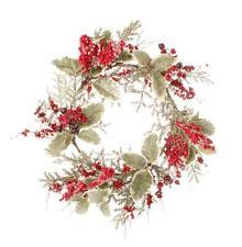 "Berry Mistletoe Wreath Red 22"" Berries Holiday Christmas Door Decor New"