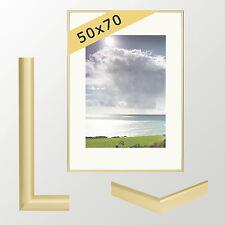 Bilderrahmen Aluminium Klassisch mit Glas Aluminiumrahmen gold matt 50x70 cm