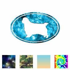 Clumber Spaniel Oval Dog - Decal Sticker - Multiple Patterns & Sizes - ebn3650