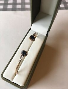 14ct 585 Gold real diamond and sapphire Bracelet bangle Hallmarked Boxed not 9ct