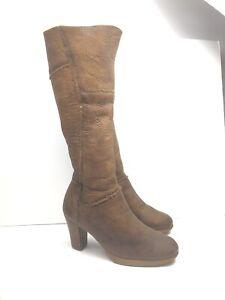 Frye Shawna Fur Lined Camel Brown Heel Boots Zip Leather Knee High Women 5.5 M