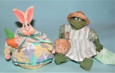 Russ Berrie Kathleen Kelly Easter bunny & frog 2pc set mixed materials New