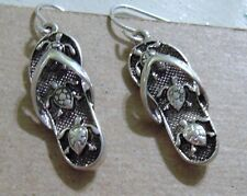SILVER PIERCED EARRINGS BABY LOGGERHEAD SEA TURTLES ON FLIP FLOP BEACH SANDALS