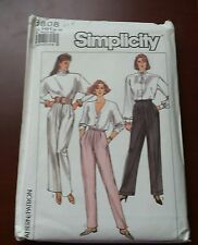 VINTAGE SIMPLICITY Pattern 8808 MISSES' PLEATED PANTS Size 6 TO 12 UNCUT