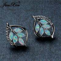 Pretty 925 Silver Opal leaf Women Jewelry White Topaz Dangle Drop Earrings Gift