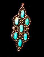 Old Pawn Native Zuni Sterling Silver Petit Point Turquoise Cluster Ring Size 6