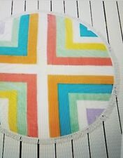 "Bar III Feathered Daze 60"" Round Beach Towel Colorful White Large Swim Fringe"