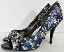 Peep Toe Casual Floral Textile Heels for Women