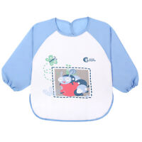 Cute Stone Waterproof Baby Toddler Bib Soft Long Sleeve Aprons Coat with Pocket