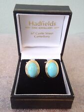 18 Ct Gold & Turquoise Pair of Clip on Oval Earrings  18 k 750  #1