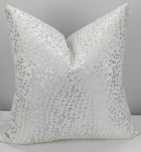 Luxury Pebble handmade Cushion Cover White and Silver Double Sided