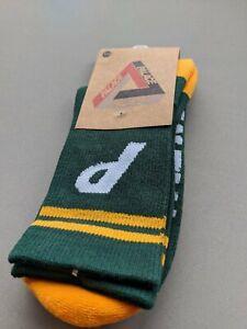 Palace - Mid Calf Socks - Cotton - Dark Green with Yellow Band