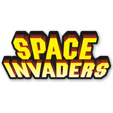 Space Invaders Retro Video Arcade Game Logo Small Sticker 15cm x 6.5cm Decal