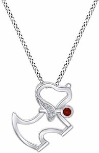 Simulated Birthstone Cute Happy Dog Pendant Necklace 14k White Gold Over Silver