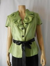 ADRIANNA PAPELL EVENING Jacket Top size 8 green shimmer short sleeve NWT