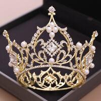 Luxury Large Circle Rhinestones Tiara Crown Bride Headpiece Wedding Hair Jewelry
