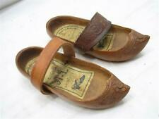 Pr Vintage Ornate Hand Carved Woodem Shoes Pointy Toe Childs Sabots Wood w/Label