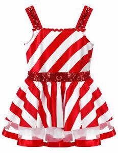 Girls Xmas Costume Striped Dresses Leotard Christmas Tutu Skirts Sequins Dress