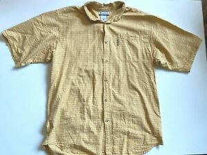 Columbia Shirt Men's XLT Short Sleeve Button Down Outdoor/Fishing Yellow Plaid