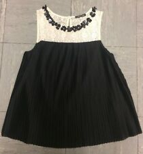 Black , Pleated, Smocked Top Size 8-10 River Island