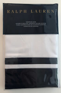 RALPH LAUREN - BOWERY Euro Sham Polo Navy New in Package Retail $145