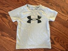 Kids Boys Under Armour Heat Gear Gray Short Sleeve Top Tee T-Shirt Sz 4 Euc