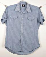 FLYING R RANCHWEAR Mens Western Shirt Pearl Snap Blue White Stripe See Details