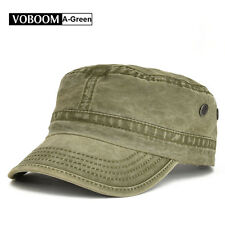 Vintage Mens Army Cap Trucker Baseball Cap 100% Cotton Distressed Snapback Green