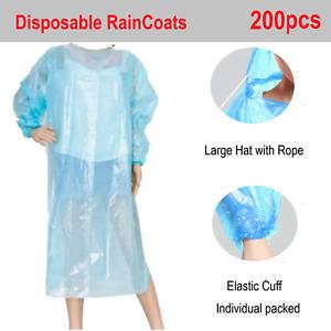 200pcs Disposable RainCoats Hooded Poncho Waterproof Outdoor Activities