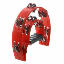 Hand Held Tambourine Double Row Metal Jingles Percussion Red M5B6