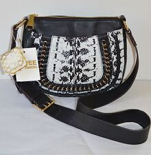 New $230 Aimee Kestenberg Genny XBODY Leather Black/White Cobra Purse/Bag
