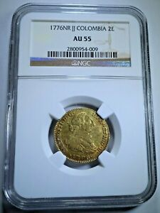 1776 Spanish Gold 2 Escudo Doubloon NGC AU-55 Antique 1700s Pirate Treasure Coin