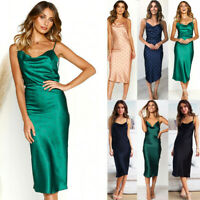 Womens Satin Silk Midi Maxi Dress Cocktail Evening Party Dresses Beach Sundress