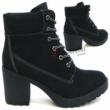 Block Mid Heel (1.5-3 in.) Unbranded Lace Up Boots for Women