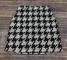 H&M Womens High Waisted A Line Tweed Short Skirt 8 Black White Cotton EUC F15