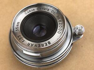 Canon RF 35mm F/3.5 Serenar M39 Screw Mount Rigid Lens Collector Serial # 62000