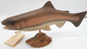"American Wildlife Carvings Inc Rainbow Trout  Signed Al Austin on Burl Wood 15"""