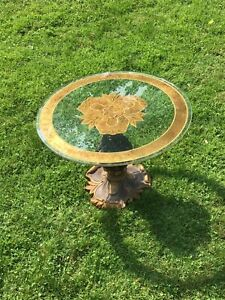 Vintage Mid Century 24in Wood & Glass Ornate Table