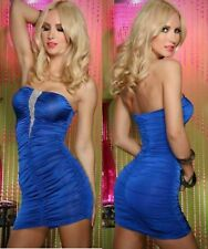 Sz 8 10 Blue Strapless Tube Party Club Formal Casual Bodycon Cocktail Mini Dress
