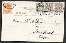 Denmark covers 1905 mixed franked PPC to Turnhout
